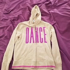 Justice Hoodie Girls Size 14 Gray Purple Dance Seq